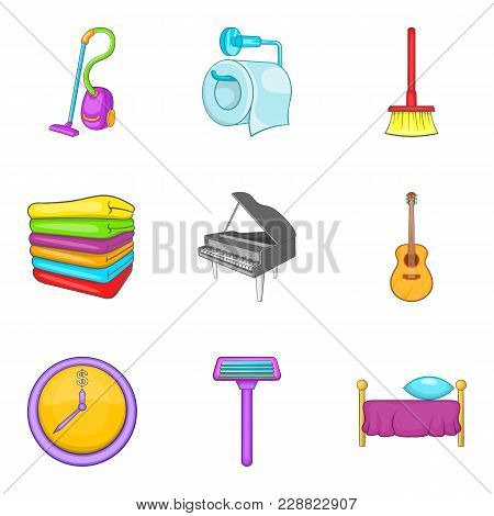 Domestic Affair Icons Set. Cartoon Set Of 9 Domestic Affair Vector Icons For Web Isolated On White B