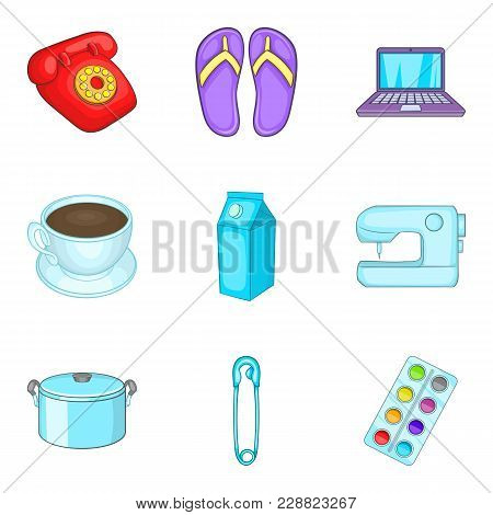Chores Icons Set. Cartoon Set Of 9 Chores Vector Icons For Web Isolated On White Background