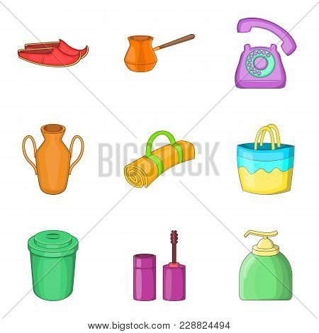 Cleaning In The Building Icons Set. Cartoon Set Of 9 Cleaning In The Building Vector Icons For Web I