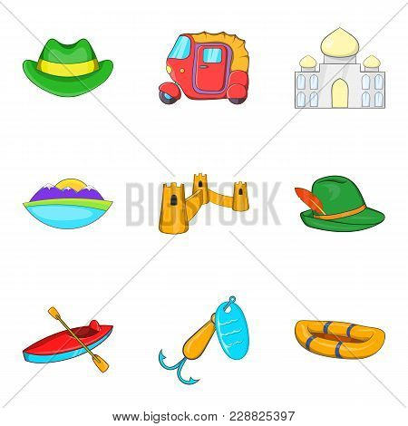 Trip Dream Icons Set. Cartoon Set Of 9 Trip Dream Vector Icons For Web Isolated On White Background