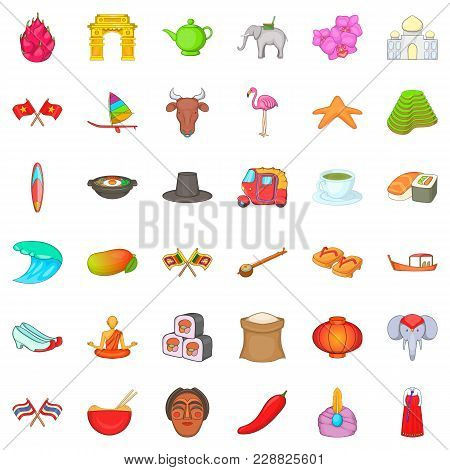 Oriental Trip Icons Set. Cartoon Set Of 36 Oriental Trip Vector Icons For Web Isolated On White Back
