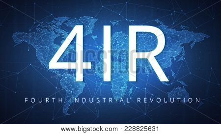 4IR on the background of polygon world map with blockchain technology peer to peer network. Fourth industrial revolution and global cryptocurrency blockchain business banner concept.