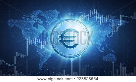 Euro coin on hud background with bull trading stock chart and polygon world map. Growth of the euro in price on stock market, world economics, finance data and global currency concept.