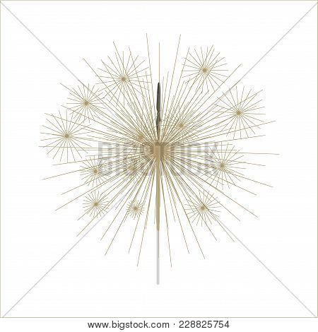 Bengal Fire Firework. Bengal Or Indian Light Sparkler, Isolated On White Background. Vector Illustra