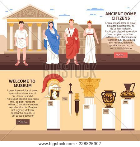 Ancient Rome 2 Flat Horizontal Banners Webpage Design With Museum Art Masterpieces Culture And Citiz
