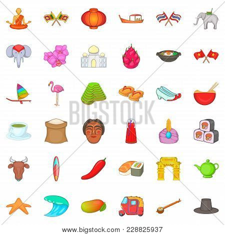Oriental Icons Set. Cartoon Set Of 36 Oriental Vector Icons For Web Isolated On White Background