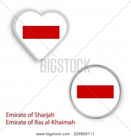 Heart And Circle Symbols With The Flag Of Sharjah And Ras-al-khaimah. Vector Illustration