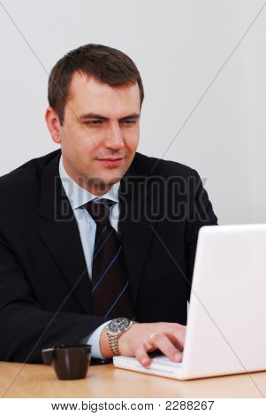 Businessman Working On A Lap-Top
