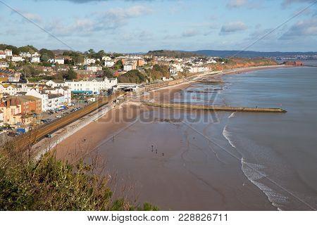Dawlish Devon England Uk English Coast Town With Beach Railway Train And Sea