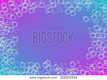 Cleaning Foam On Gradient Background. Realistic Water Bubbles 3d. Cool Rainbow Colored Liquid Foam W