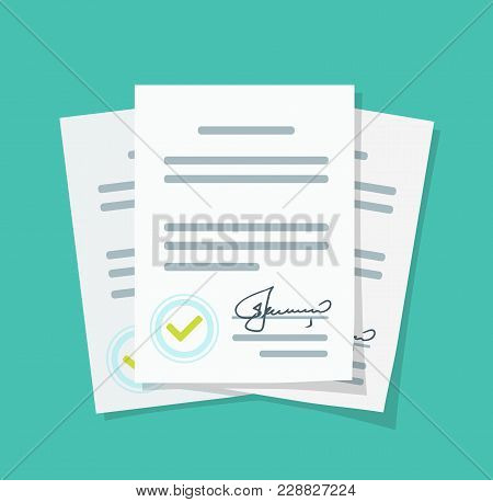 Contract Documents Pile Vector Illustration, Flat Cartoon Stack Of Agreements Document With Signatur