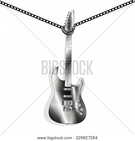 Vector Illustration Of A Classic Electric Guitar Metal Hung On Chains For The Neck,  Isolated Elemen