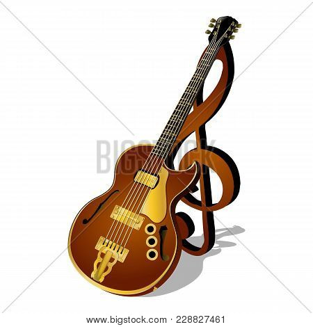 Vector Illustration Of A Jazz Guitar With A Treble Clef And Shadow Isolated Object Pattern Poster Or
