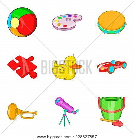 Plaything Icons Set. Cartoon Set Of 9 Plaything Vector Icons For Web Isolated On White Background