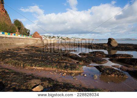 Rock Pools And View To Dawlish Devon England Uk English Coast Town With Beach Railway Train And Sea