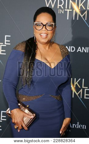 Oprah Winfrey at the Los Angeles premiere of 'A Wrinkle In Time' held at the El Capitan Theater in Hollywood, USA on February 26, 2018.