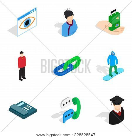Personnel Service Icons Set. Isometric Set Of 9 Personnel Service Vector Icons For Web Isolated On W
