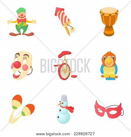 Bauble Icons Set. Cartoon Set Of 9 Bauble Vector Icons For Web Isolated On White Background