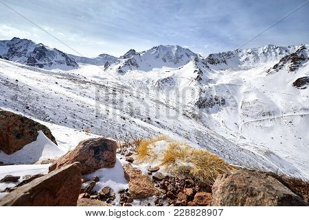 Panoramic View Of High Mountain Range Of Zaili Alatay In Almaty, Kazakhstan