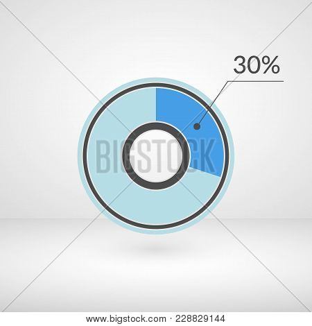 30 Percent Pie Chart Isolated Symbol. Percentage Vector Infographics. Circle Diagram Sign. Business