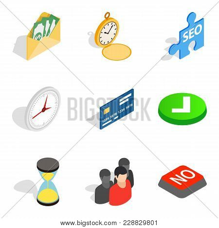 Transactions Icons Set. Isometric Set Of 9 Transactions Vector Icons For Web Isolated On White Backg