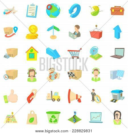 Postal Parcel Icons Set. Cartoon Set Of 36 Postal Parcel Vector Icons For Web Isolated On White Back