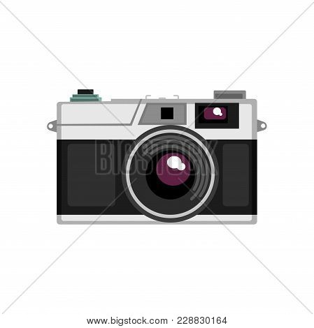Old Rangefinder Camera Vector Illustration Isolated On A White Background.