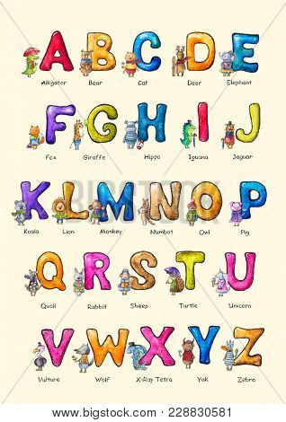 English alphabet with watercolor animals on a yellow background