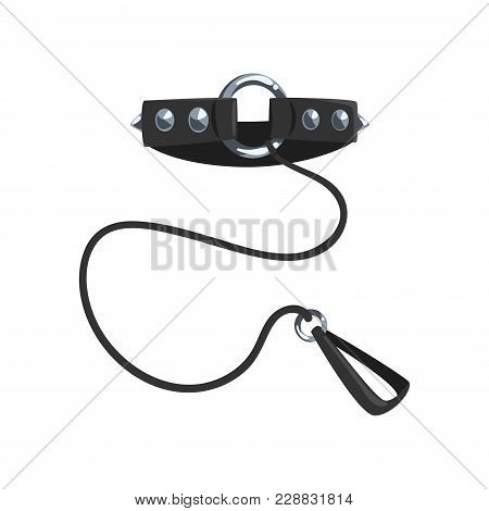 Leather Fetish Collar With Steel Spikes And Leash, Fetish Stuff For Role Playing And Bdsm Vector Ill