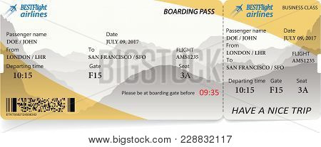 Airplane Ticket Boarding Pass. Yellow Flight Coupon Isolated On White Background. Vector Illustratio
