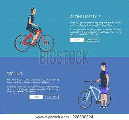 Active Lifestyle And Cycling, Collection Of Web Pages With Text Easy To Edit And Buttons, Cyclists W