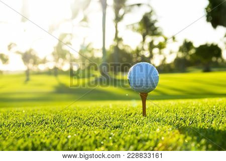 Golf Ball On Tee On Golf Course Over A Blurred Green Field At The Sunset