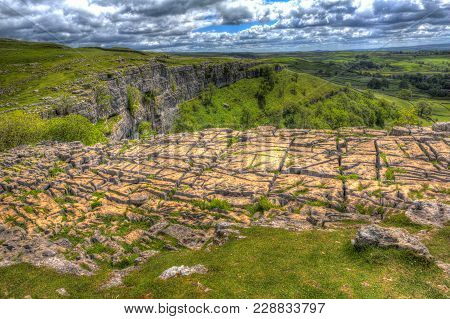 Rocky Top Of Malham Cove Yorkshire Dales National Park England Uk Popular Tourist Attraction In Colo