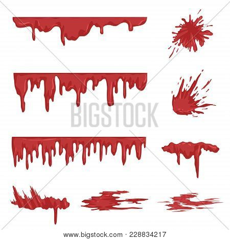 Blood Spatters Set, Dripping Blood And Stains Vector Illustrations Isolated On A White Background.