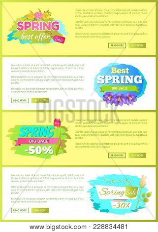 Super Spring Big Sale Advertisement Labels Set Crocus C Purple Flowers With Tulips, Daisies And Rose