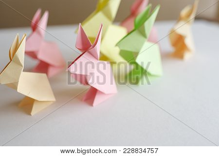 Lesson Of Origami. Easter Rabbits From Paper.