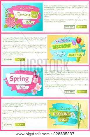 Only Today Spring Sale, Best Discount, Set Of Web Pages With Text Sample And Headlines, Buttons And