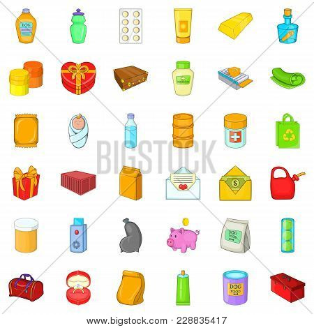 Container Icons Set. Cartoon Set Of 36 Container Vector Icons For Web Isolated On White Background