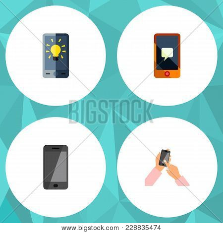 Icon Flat Smartphone Set Of Message, Brightness, Touchscreen And Other Vector Objects. Also Includes