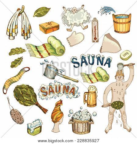 Vector Set Of Bath And Sauna Accessories. Bathhouse Broom, Wooden Bucket, Towels, Ladle. Vector Illu