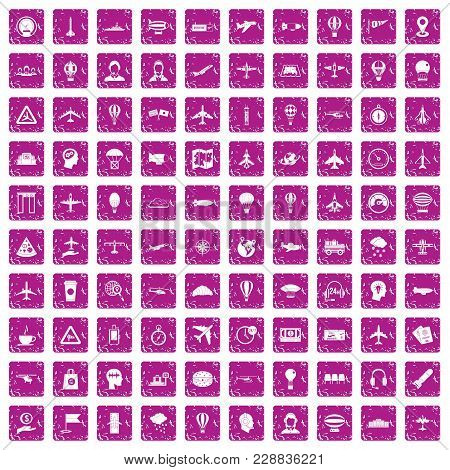 100 Aviation Icons Set In Grunge Style Pink Color Isolated On White Background Vector Illustration