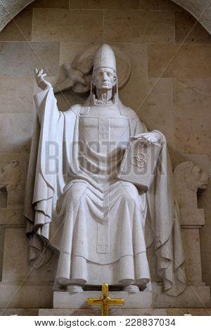 MUNSTERSCHWARZACH, GERMANY - JULY 09: Pope Saint Gregory I, altar in Munsterschwarzach Abbey, Benedictine monastery, Germany on July 09, 2017.
