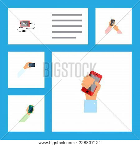 Icon Flat Smartphone Set Of Holding, Keep Phone, Touchscreen And Other Vector Objects. Also Includes