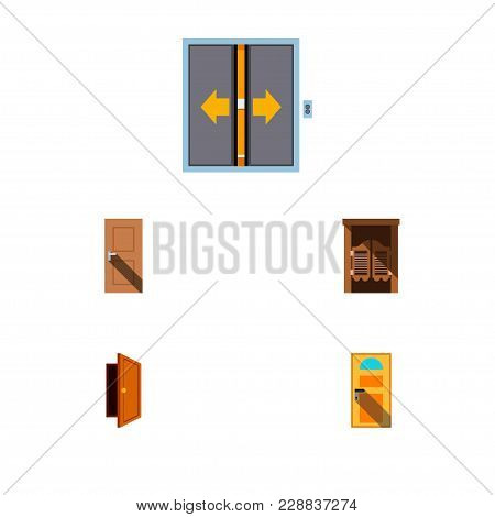 Icon Flat Door Set Of Entry, Door, Elevator And Other Vector Objects. Also Includes Door, Exit, Entr
