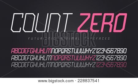 Vector Futuristic Display Font Design, Alphabet, Character Set, Typeface, Typography, Letters And Nu