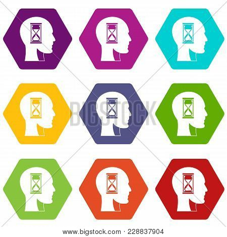 Hourglass In Head Icon Set Many Color Hexahedron Isolated On White Vector Illustration