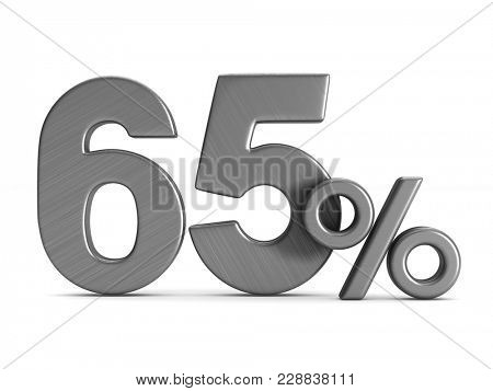 sixty five percent on white background. Isolated 3D illustration