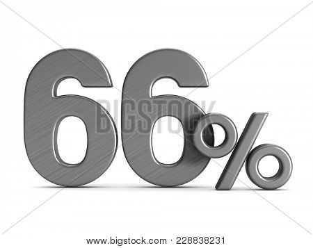 sixty six percent on white background. Isolated 3D illustration