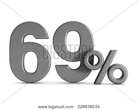 sixty nine percent on white background. Isolated 3D illustration
