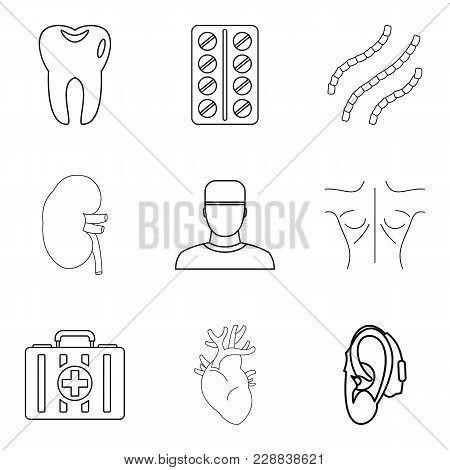 Medical Adviser Icons Set. Outline Set Of 9 Medical Adviser Vector Icons For Web Isolated On White B